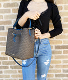 Michael Kors Suri Large Bucket Bag MK Brown Blue + Continental Wristlet