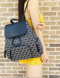 Michael Kors Abbey Large Cargo Backpack + Continental Wallet Navy Multi MK