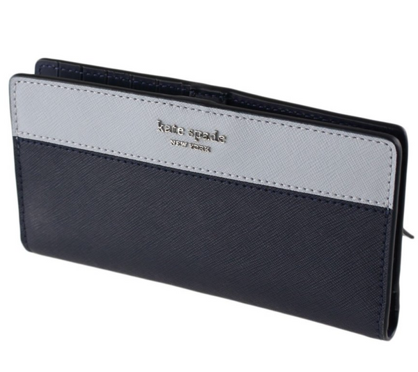 Kate Spade Cameron Large Slim Bifold Wallet Midnight Blue Navy Multi - Gaby's Bags