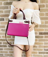 Kate Spade Staci Small Leather Satchel Crossbody Pink Multi Colorblock