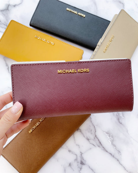 Michael Kors Bifold Wallet Jet Set Travel Slim Leather Wallet Merlot - Gaby's Bags