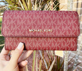 Michael Kors Jet Set Travel Large Trifold Wallet Oxblood MK Signature