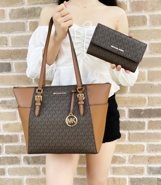 Michael Kors Charlotte Top Zip Tote Brown MK Signature + Trifold Wallet