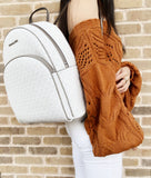 Michael Kors Large Abbey Backpack Bright White MK Grey - Gaby's Bags