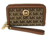 Michael Kors Fulton Large Flat Multifunction Phone Case Wristlet Beige MK Canvas - Gaby's Bags