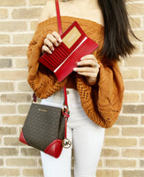 Michael Kors Nicole Large Triple Compartment Crossbody Brown Red+ Wallet - Gaby's Bags