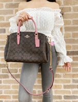 Coach F29683 Sage Large Carryall Satchel Brown Pink Rose - Gaby's Bags
