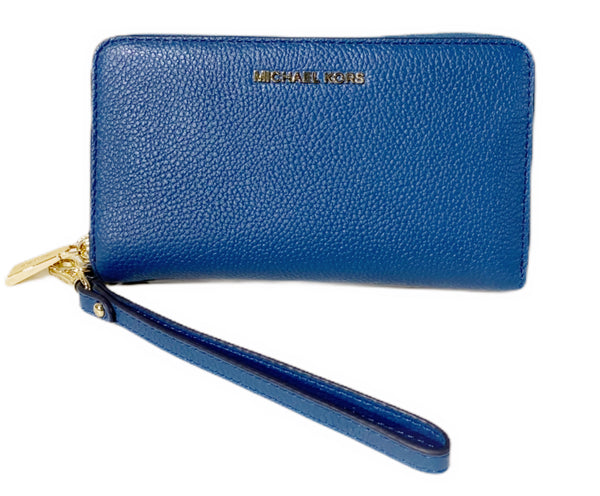 Michael Kors Jet Set Travel Large Flat Multifunction Phone Wallet Dark Chambray - Gaby's Bags