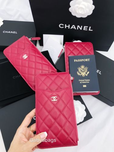 ebc80bc076c4 ... Chanel Caviar Wallet Card Phone Holder O-Case Zip Pouch Clutch 18B Dark  Red ...