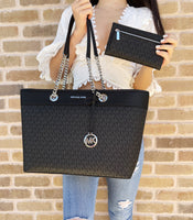 Michael Kors Shania Large Chain Tote Shoulder Bag Black MK + Trifold Wallet