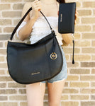 Michael Kors Brooke Large Hobo Tote Shoulder Bag Black Pebbled Leather + Wallet
