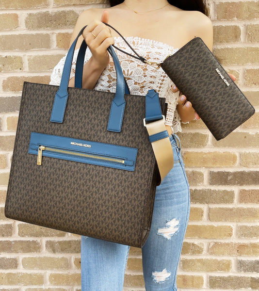 Michael Kors Kenly Large Tote Satchel Brown Chambray Blue + Continental Wallet