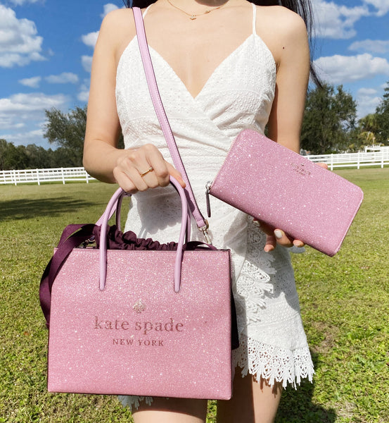 Kate Spade Trista Glitter Rose Pink Shopper Tote Crossbody + Lola Large Wallet