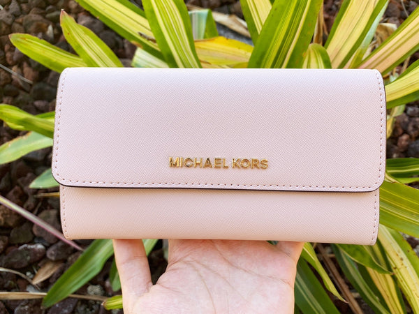 Michael Kors Jet Set Travel Large Trifold Wallet Blossom Saffiano - Gaby's Bags