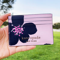 Kate Spade Cameron Grand Flora Slim Card Holder Wallet Leather Serendipity Pink