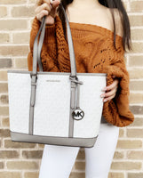 Michael Kors Jet Set Signature MK Small Top Zip Tote White + Wallet DUSTBAG - Gaby's Bags