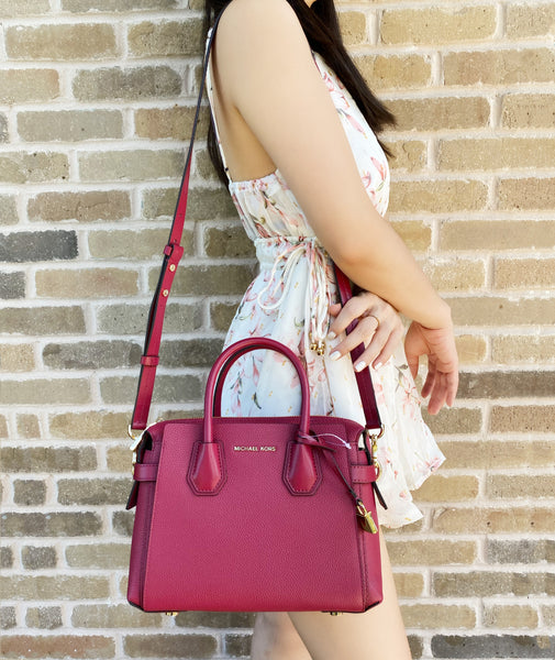 Michael Kors Mercer Belted Small Raspberry Red Leather Satchel Bag