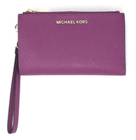 Michael Kors Jet Set Double Zip Wristlet Phone Wallet Pomegranate Purple - Gaby's Bags