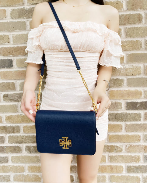 Tory Burch Britten Combo Leather Large Crossbody Messenger Royal Navy Blue
