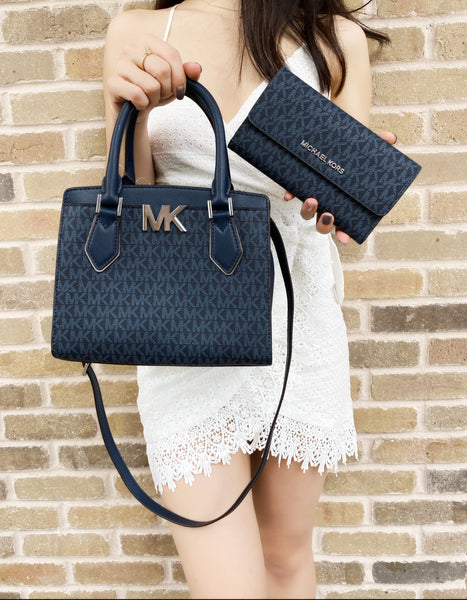 Michael Kors Mott Small Satchel Admiral Blue MK Signature + Trifold Wallet