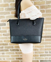 Kate Spade Lola Joeley Glitter Penny Large Top Zip Tote Handbag Black