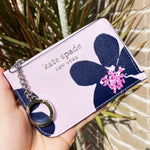 Kate Spade Cameron Card Holder Small Key Ring Wallet Grand Flora Pink