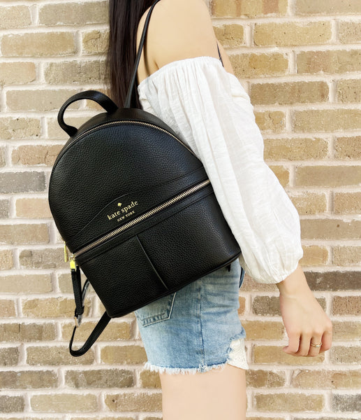 Kate Spade Karina Medium Backpack Black Pebbled Leather Front Pocket