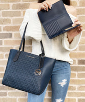 Michael Kors Kimberly Bonded Top Zip Tote Navy MK Multi + Large Trifold Wallet - Gaby's Bags