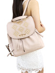 Michael Kors Riley Large Backpack Ballet Pink Gold Studded Drawstring Flap Bag - Gaby's Bags