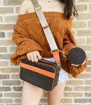 Michael Kors Kenly Large Pocket Crossbody Brown Orange + Round Coin Wallet