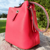 Kate Spade Marti Large Leather Bucket Bag Shoulder Bag Crossbody Stoplight Red