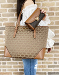 Michael Kors Lillian Large Top Zip Shoulder Tote Beige Brown+ Fulton Wallet