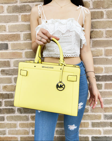 Michael Kors Rayne Medium EW Satchel Saffiano Crossbody Bag Sunshine Yellow