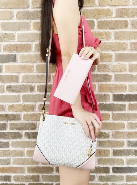 Michael Kors Nicole Large Triple Compartment Crossbody Vanilla + Blossom Wallet - Gaby's Bags