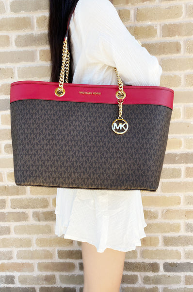 Michael Kors Shania Signature Leather Large East West Chain Tote Brown MK Red - Gaby's Bags