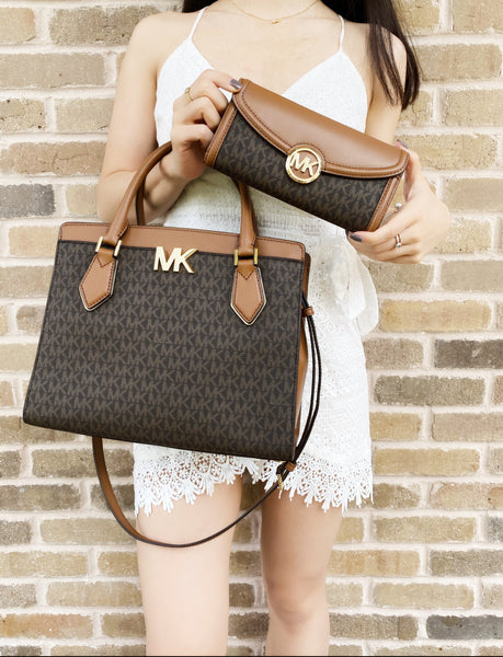 Michael Kors Mott Large Satchel Brown MK Signature + Fulton Wallet
