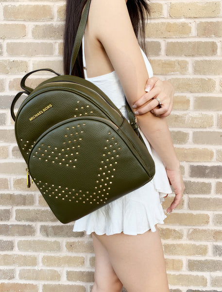 Michael Kors Abbey Medium Backpack Pebbled Leather Studded Duffle Green