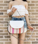 Kate Spade Leila Medium Flap Shoulder Bag Crossbody Pink Multi Stripe White