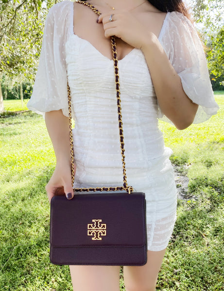 Tory Burch Britten Small Adjustable Shoulder Bag Crossbody Plum Purple Leather