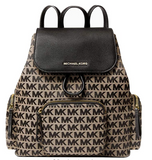 Michael Kors Abbey Large Cargo Drawstring Backpack Beige Black MK