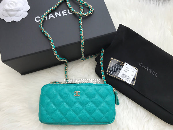 NWT Chanel Double Zip WOC wallet on Chain Small Crossbody Turquoise Caviar Gold