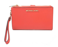 Michael Kors Jet Set Double Zip Wristlet Phone Wallet Light Terracotta - Gaby's Bags
