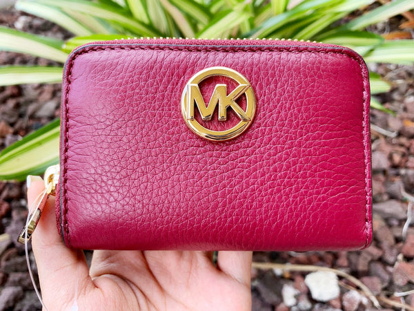 Michael Kors Fulton Coin Case Small Wallet Mulberry Burgundy Pebble Leather - Gaby's Bags