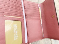 Michael Kors Jet Set Travel Large Trifold Wallet Rose Pink Saffiano - Gaby's Bags