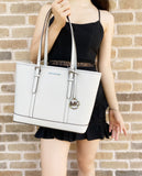Michael Kors Jet Set Travel Small Top Zip Shoulder Tote Aluminum Grey Leather