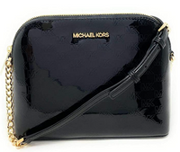 Michael Kors Cindy Large Patent Leather Dome Crossbody Bag Black MK