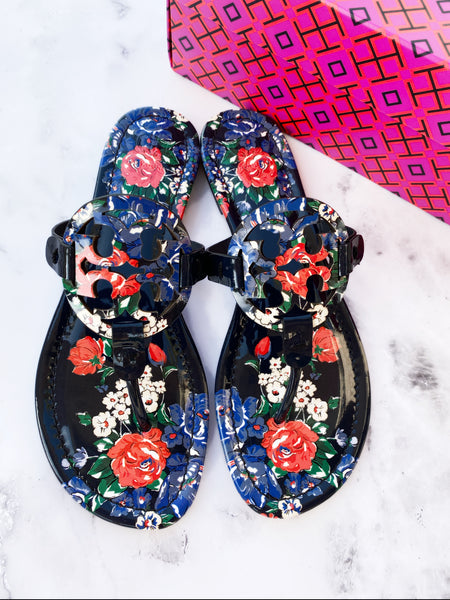 NIB Tory Burch Miller Thong Flip Flop Leather Sandal Navy Tea Rose US 8