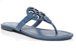 Tory Burch Miller Sandals Embossed Leather Blue Yonder 9 - Gaby's Bags