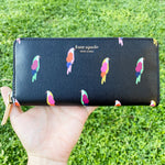 Kate Spade Sylvia Flock Party Bird Slim Continental Zip Around Wallet Black