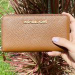 Michael Kors Jet Set Multifunctional Zip Around Wallet Luggage Pebble Leather